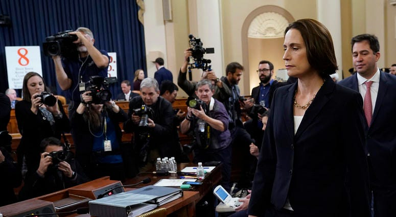 Fiona Hill, the National Security Council's former senior director for Europe and Russia arrives for testimony before the House Intelligence Committee on Nov. 21, 2019.