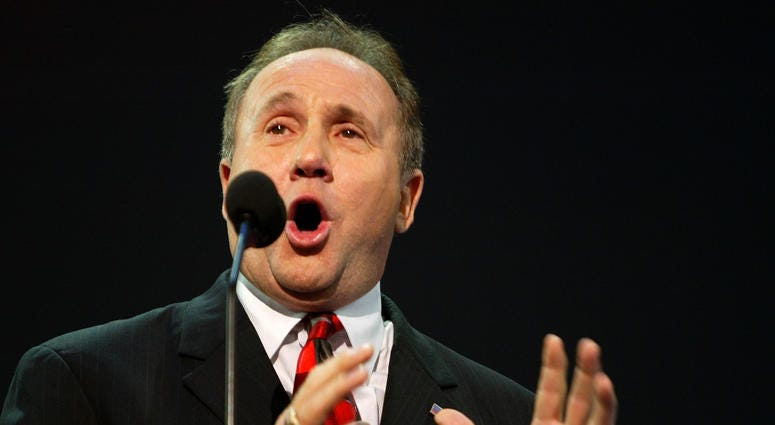 Michael Reagan introduces a tribute to his father, former U.S. President Ronald Reagan, on night three of the Republican National Convention September 1, 2004 at Madison Square Garden in New York City.