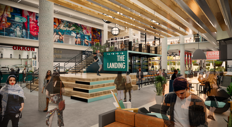 Oakland Assembly is a food hall that's expected to open in Jack London Square in 2020