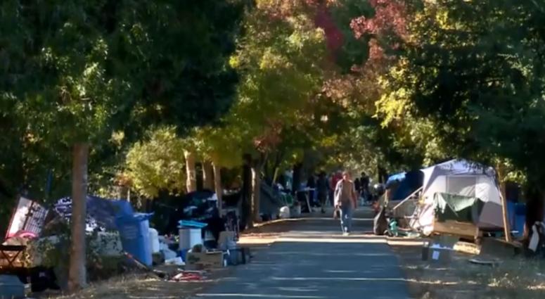 Homeless camp lines Joe Rodota Trail in Santa Rosa