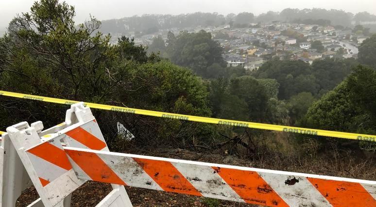 December 4, 2019 Landslide off San Bruno Avenue in San Bruno after days of heavy rain.
