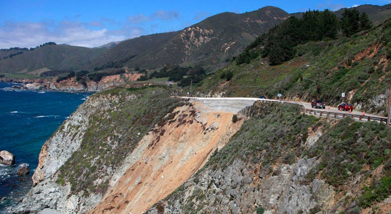 Highway 1 is open from the north after repairs to the slide area just south of Rocky Creek Bridge in Big Sur, California, on Thursday April 21, 2011.