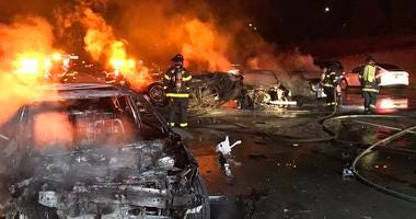 An accident on Highway 101 in San Jose left one person dead and several cars badly burned on Aug. 8, 2019.