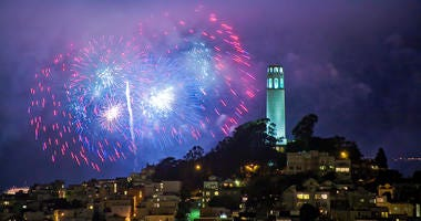 A view of Coit Tower in San Francisco on July 4.