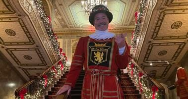 Tom Sweeney, the beefeater for the Sir Francis Drake Hotel, is retiring after 42 years.
