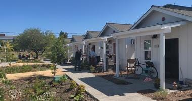 """A group of 14 homeless veterans have moved into 250-square foot """"tiny homes"""" in Santa Rosa in July 2019."""