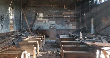 The Church of Christ in Forestville, built in 1879, was badly damaged in a fire Nov. 25, 2019.
