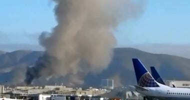 A fire at a United Airlines maintenance facility near San Francisco International Airport on July 31, 2019.