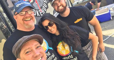 Liam and his Foodie Chap Team at World Central Kitchen in Santa Rosa (Photo credit: Foodie Chap/Liam Mayclem)