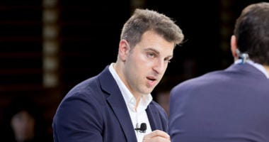 Airbnb CEO Brian Chesky speaks at the New York Times DealBook conference