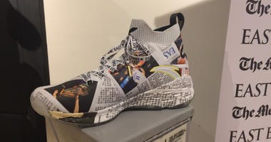 Klay Thompson's newest branded sneakers allude to his pre-game ritual of reading the newspaper before Golden State Warriors games. Fans had to purchase a newspaper subscription to qualify to get the shoes on July 7, 2019.