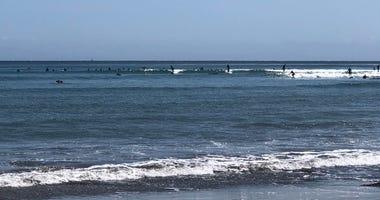 Surfers at Cowell's Beach in Santa Cruz