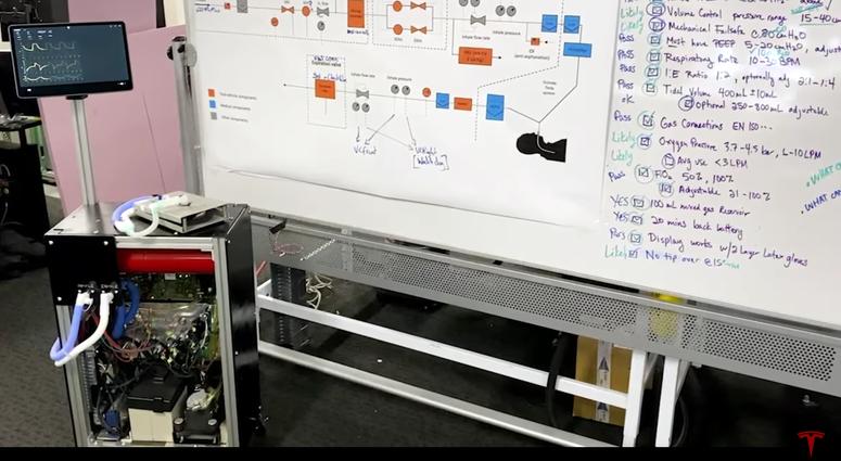Tesla demonstrates ventilator prototype