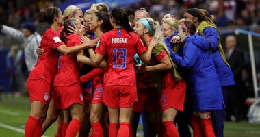 US Women's Soccer Team Celebrates Goal During FIFA Women's World Cup