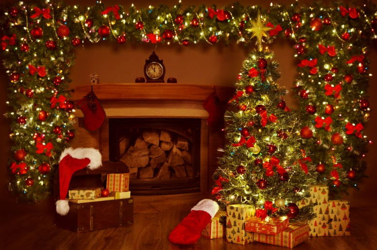 Christmas Fireplace and Xmas Tree, Presents Gifts Decorations