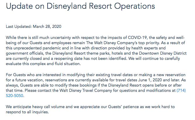 Statement from Disneyland Resort