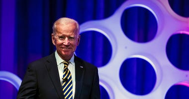 Former Vice President Joe Biden arrives for a forum on the opioid epidemic, at the University of Pennsylvania in Philadelphia, Thursday, April 11, 2019.