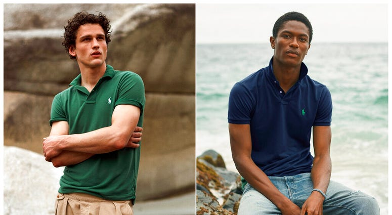This combination of photos released by Ralph Lauren shows Polo shirts made from recycled plastic bottles. Each shirt is made from an average of 12 bottles collected in Taiwan, where the Polos are made, in partnership with an organization called First Mile