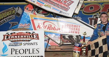 AJ Flick In Victory Lane After Winning Peoples Gas Sprint Division Race At Lernerville Speedway