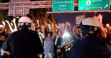 Protestors on Parkway East