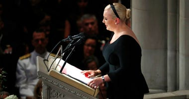 Meghan McCain speaks at a memorial service for her father, Sen. John McCain