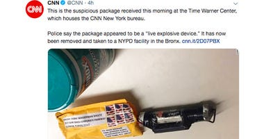 This screenshot from CNN's Twitter account shows what CNN says is the explosive device that was delivered to their New York headquarters on Wednesday, Oct. 24, 2018.