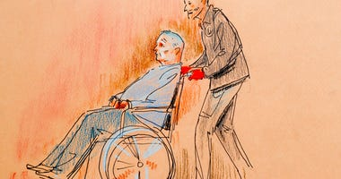 This courtroom sketch depicts Robert Gregory Bowers, who was wounded in a gun battle with police as he appeared in a wheelchair at federal court on Monday, Oct. 29, 2018, in Pittsburgh.