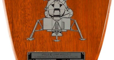 Neil Armstrong's spacecraft ID plate from Apollo 11's lunar module Eagle