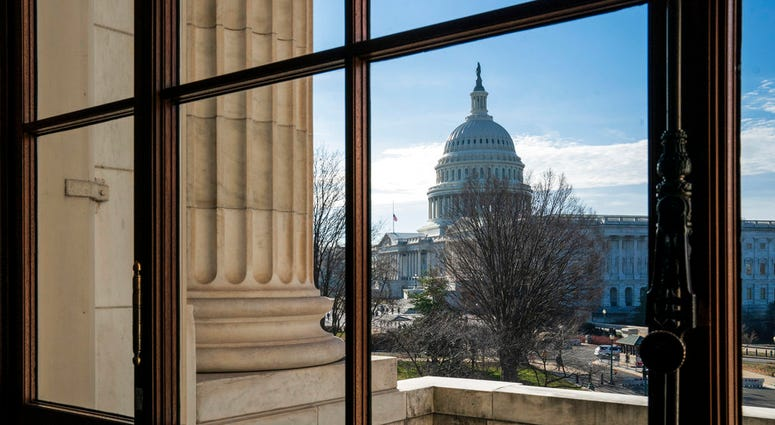 The Capitol Dome is seen from the Russell Senate Office Building in Washington