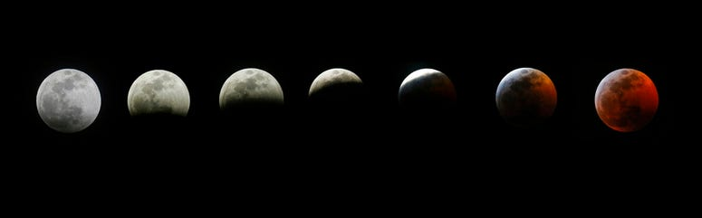 The different stages of the blood moon and supermoon during a total lunar eclipse