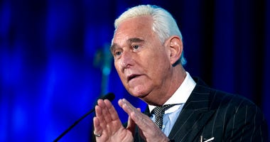 Roger Stone speaks at the American Priority Conference in Washington. Stone