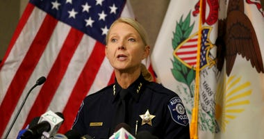 Aurora Police Chief Kristen Ziman speaks at a news conference Friday, Feb. 15, 2019, in Aurora, Ill., about the shootings at a manufacturing company in the city.