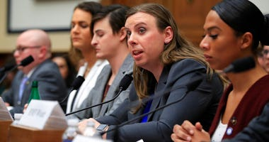 Army Staff Sgt. Patricia King, second from right, together with other transgender military members, from left, Navy Lt. Cmdr. Blake Dremann, Army Capt. Alivia Stehlik, Army Capt. Jennifer Peace and Navy Petty Officer Third Class Akira Wyatt, testify about