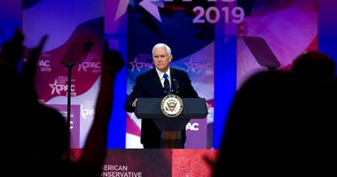 Vice President Mike Pence speaks at Conservative Political Action Conference, CPAC 2019, in Oxon Hill, Md., Friday, March 1, 2019.