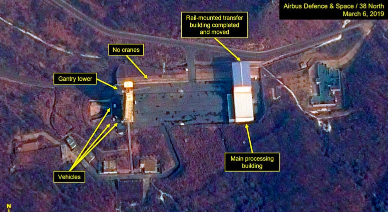 This image provided by Airbus Defence & Space and 38 North via a satellite image from CNES which was captured on March 6, 2019, shows the Sohae Satellite Launch Facility in Tongchang-ri, North Korea