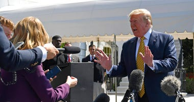 President Donald Trump speaks to reporters on the South Lawn of the White House in Washington, Saturday, June 22, 2019, before boarding Marine One for the trip to Camp David in Maryland.