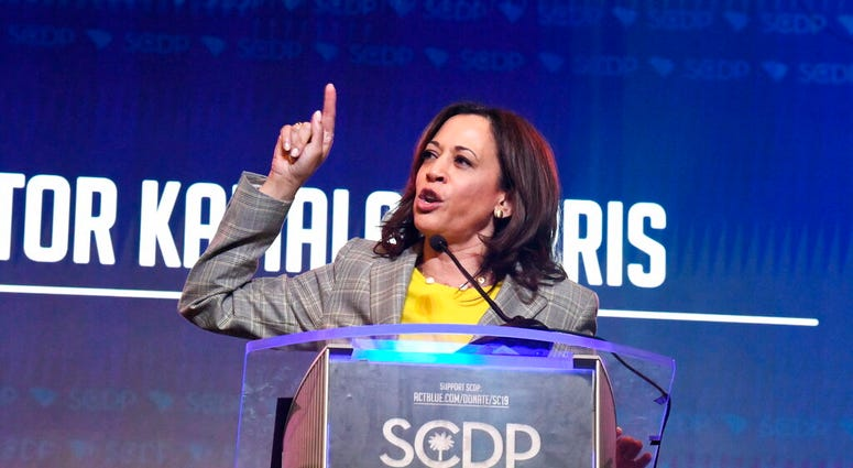 California Sen. Kamala Harris addresses the South Carolina Democratic Party's convention on Saturday, June 22, 2019, in Columbia, S.C.