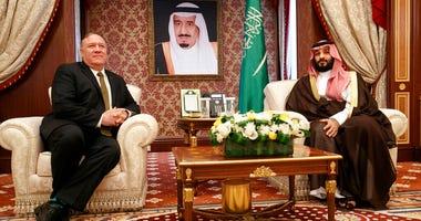Secretary of State Mike Pompeo meets with Saudi Arabia's Crown Prince Mohammed bin Salman, at Al-Salam Palace in Jiddah, Saudi Arabia, Monday, June 24, 2019.
