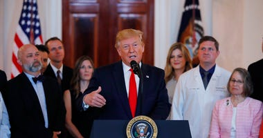 President Donald Trump speaks during a ceremony where he will sign an executive order that calls for upfront disclosure by hospitals of actual prices for common tests and procedures to keep costs down, at the White House in Washington, Monday, June 24, 20