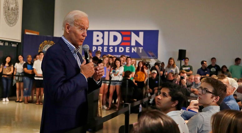 Democratic presidential candidate former Vice President Joe Biden speaks during a campaign event at Dartmouth College, Friday, Aug. 23, 2019, in Hanover, N.H.