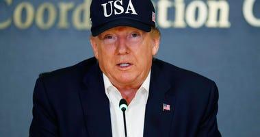 President Donald Trump speaks at the Federal Emergency Management Agency (FEMA), Sunday, Sept. 1, 2019, in Washington.