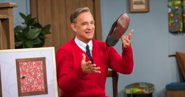 "Tom Hanks as Mister Rogers in a scene from ""A Beautiful Day In the Neighborhood,"" in theaters on Nov. 22."