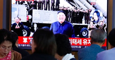 North Korean leader Kim Jong Un during a news program at the Seoul Railway Station in Seoul, South Korea, Wednesday, Oct. 2, 2019.