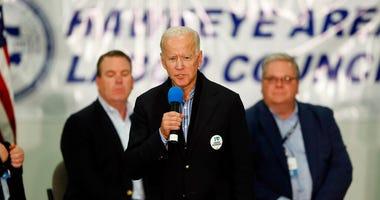 Democratic presidential candidate former Vice President Joe Biden speaks during a fund-raising fish fry for U.S. Rep. Abby Finkenauer, D-Iowa, Saturday, Nov. 2, 2019, at Hawkeye Downs Expo Center in Cedar Rapids, Iowa.