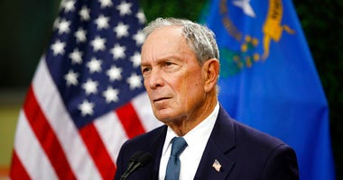 former New York City Mayor Michael Bloomberg speaks at a news conference at a gun control advocacy event in Las Vegas. Bloomberg has opened door to a potential presidential run, saying the Democratic field 'not well positioned' to defeat Trump.
