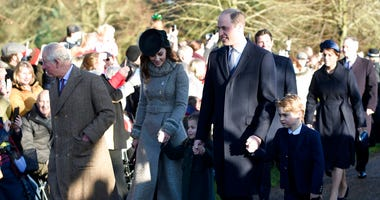 Britain's Prince Charles, Kate, Duchess of Cambridge, Prince William and their children Prince George, right, and Princess Charlotte arrive to attend the Christmas Day morning church service at St. Mary Magdalene Church in Sandringham, Norfolk, England, W