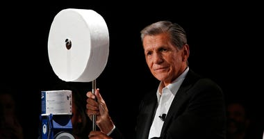 Procter & Gamble Chief Brand Officer Marc Pritchard shows off the Charmin Forever Roll and the Charmin RollBot during a Procter & Gamble news conference before CES International, Sunday, Jan. 5, 2020,