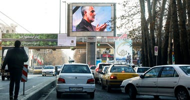 Portrait of Iranian Revolutionary Guard Gen. Qassem Soleimani, who was killed in Iraq in a U.S. drone attack on Friday,