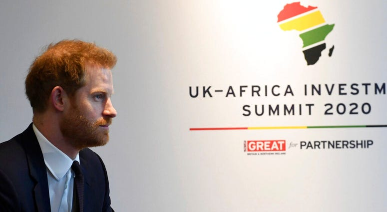 Britain's Prince Harry meets with Prime Minister of Morocco Saadeddine Othmani at the UK Africa Investment Summit in London, Monday Jan. 20, 2020. Britain's Prime Minister Boris Johnson is hosting 54 African heads of state or government in London, as the