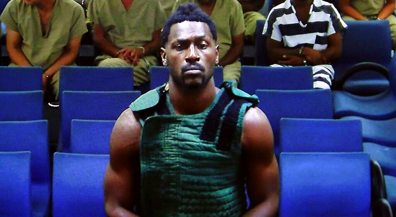 Antonio Brown appearing before a judge